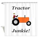 Orange Tractor Junkie Shower Curtain