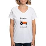 Orange Tractor Junkie Women's V-Neck T-Shirt