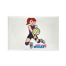 Volleyball Player Light/Red Rectangle Magnet