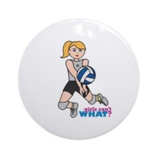 Volleyball Player Light/Blonde Ornament (Round)