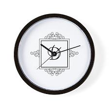 Fancy letter D monogram Wall Clock