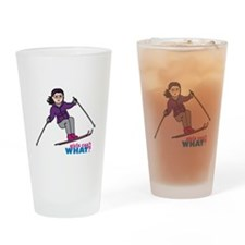 Skiing Woman Medium Drinking Glass