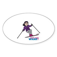 Skiing Woman Medium Decal