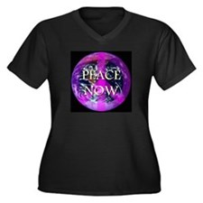 Peace Now Earth Symbol Women's Plus Size V-Neck Da