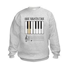 She Wants the D Piano Music Sweatshirt