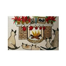 Siamese Holiday Fireplace Rectangle Magnet