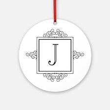 Fancy letter J monogram Ornament (Round)