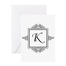 Fancy letter K monogram Greeting Cards