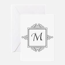 Fancy letter M monogram Greeting Cards