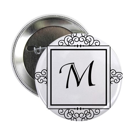 "Fancy letter M monogram 2.25"" Button (10 pack)"