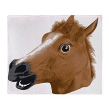 Horse Head Creepy Mask Throw Blanket