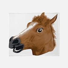 Horse Head Creepy Mask Throw Blanket
