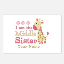 Pink Giraffe Middle Sister - Personalized Postcard
