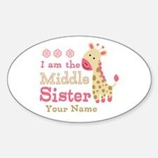 Pink Giraffe Middle Sister - Personalized Decal