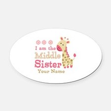 Pink Giraffe Middle Sister - Personalized Oval Car