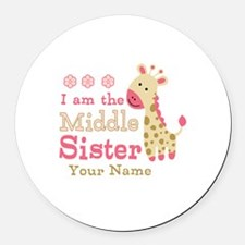 Pink Giraffe Middle Sister - Personalized Round Ca
