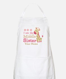 Pink Giraffe Middle Sister - Personalized Apron