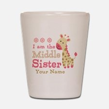 Pink Giraffe Middle Sister - Personalized Shot Gla