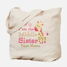 Pink Giraffe Middle Sister - Personalized Tote Bag
