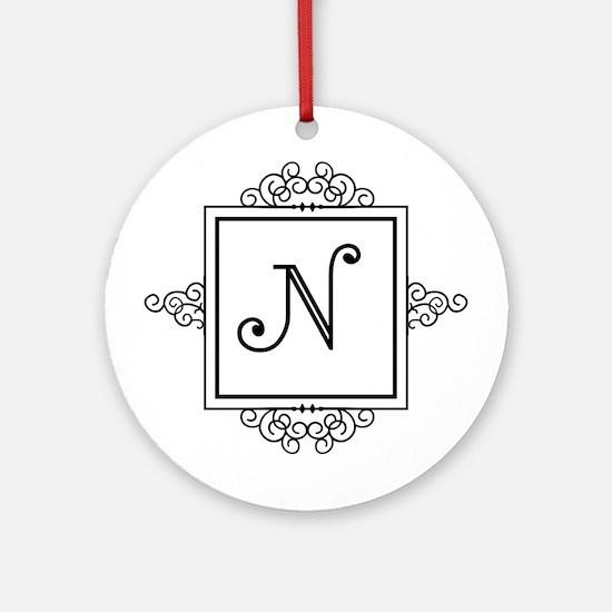 Fancy letter N monogram Ornament (Round)