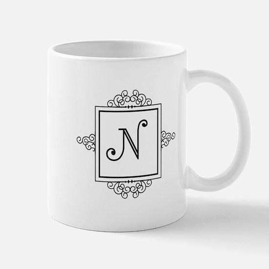 Fancy letter N monogram Mugs