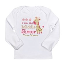 Pink Giraffe Middle Sister - Personalized Long Sle