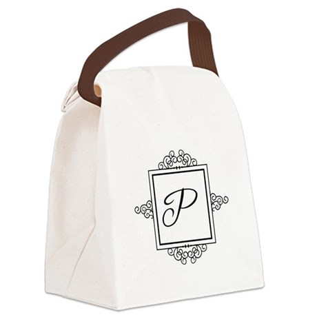 Fancy letter P monogram Canvas Lunch Bag