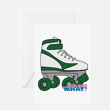 Roller Derby Skate Green Greeting Card