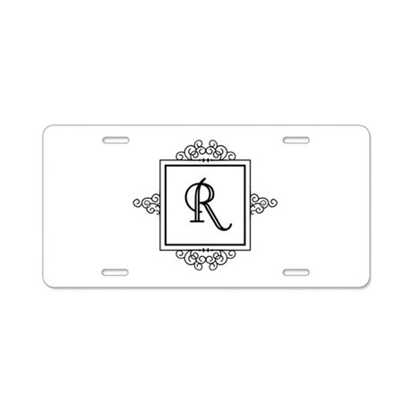 Fancy letter r monogram aluminum license plate by admin for Party wall act letter to neighbour