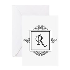 Fancy letter R monogram Greeting Cards