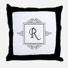 Fancy letter R monogram Throw Pillow