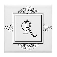 Fancy letter R monogram Tile Coaster