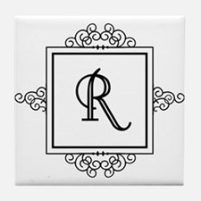 Fancy letter R monogram Tile Coaster