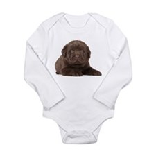 Chocolate Lab Puppy Long Sleeve Infant Bodysuit