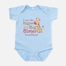 Biggest Big Sister Personalized Pink Giraffe Infan