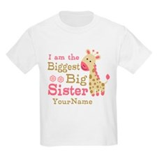 Biggest Big Sister Personalized Pink Giraffe T-Shirt