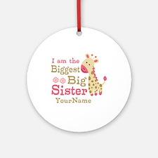 Biggest Big Sister Personalized Pink Giraffe Ornam