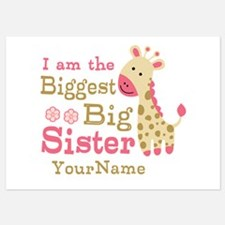 Biggest Big Sister Personalized Pink Giraffe Invitations