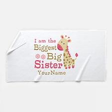 Biggest Big Sister Personalized Pink Giraffe Beach