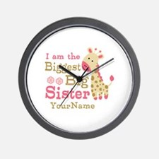 Biggest Big Sister Personalized Pink Giraffe Wall