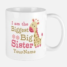 Biggest Big Sister Personalized Pink Giraffe Mug