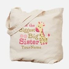Biggest Big Sister Personalized Pink Giraffe Tote