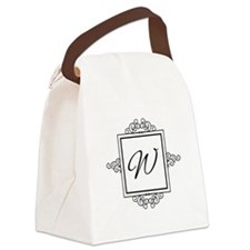 Fancy letter W monogram Canvas Lunch Bag