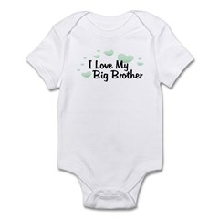 Love Big Brother Green Hearts Baby bodysuits
