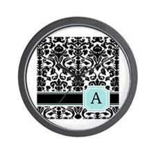 Letter A Black Damask Personal Monogram Wall Clock