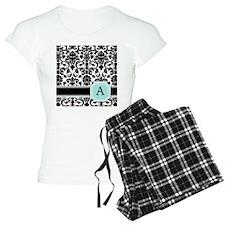 Letter A Black Damask Personal Monogram pajamas