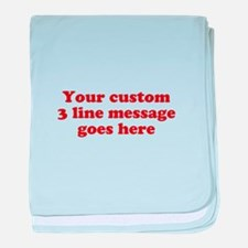 Three Line Custom Message baby blanket
