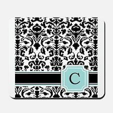 Letter C Black Damask Personal Monogram Mousepad