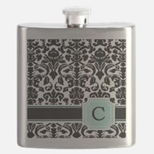 Letter C Black Damask Personal Monogram Flask