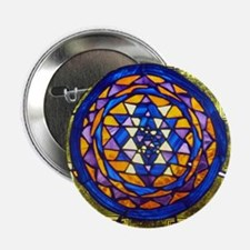 "Sri Yantra in Stained Glass 2.25"" Button"